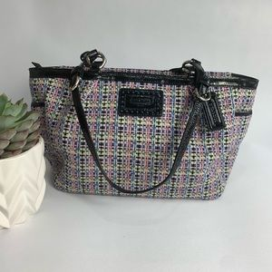 Coach Poppy Tweed Tote Purse w Patent Leather trim